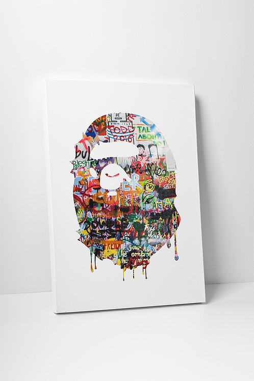 Bape Inspired Canvas Print, Hypebeast Canvas Art, Street Art Canvas