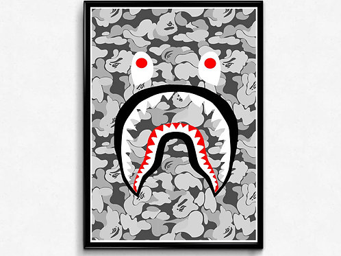 Shark & White Camo Inspired Poster, Hypebeast Poster Print, Pop Culture Poster