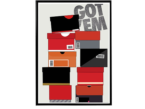 Sneaker Boxes Got Em Poster, Hypebeast Poster Kicks Poster