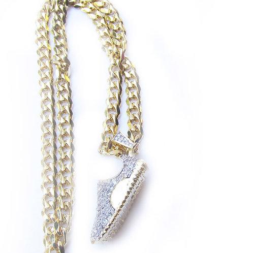 Yeezy Boost 350 14k Gold Overlay Pendant On CZ Diamond Chain Set