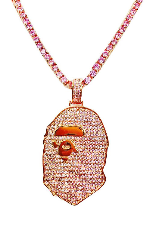 Bape Ape Rose Gold Plated CZ 14k Gold Over Stainless Steal Mini Piece Chain Set