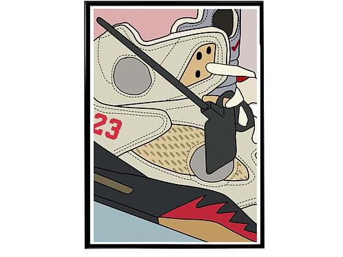 Off White X Air Jordan Tan Close Sneaker Poster, Hypebeast Poster Sneaker