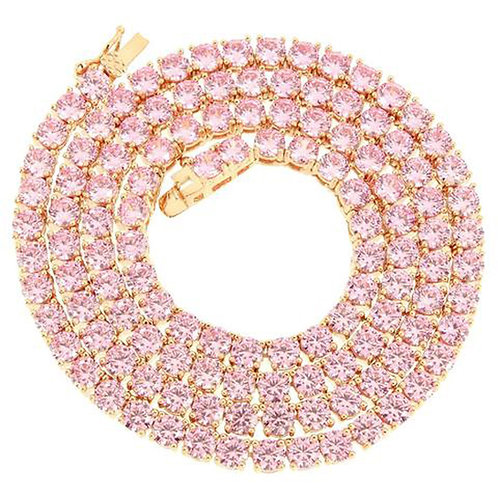 Pink Stone Rose Gold Tennis Chain CZ 14k Gold Overlay Necklace