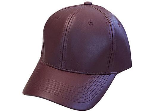 Leather Merlot Solid Unisex Adjustable Low Profile Dad Hat Cap