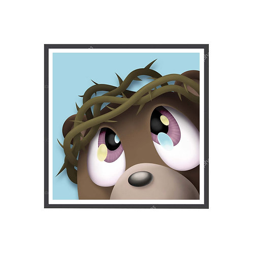 Kanye West Ye Bear Jesus is King Poster, Hypebeast Poster, Hip Hop Wall Art