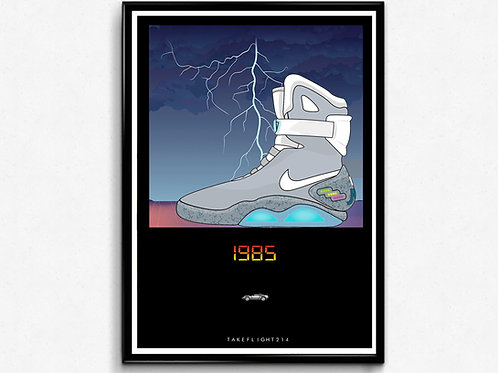 Nike Air Mag Illustration Poster, Modern Wall Art, Hypebeast Sneaker Poster