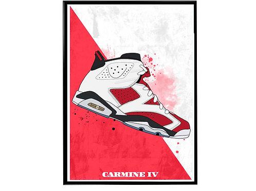 Air Jordan 6 Carmine Poster, Hypebeast Poster Sneaker Art