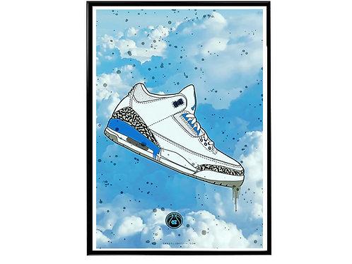Air Jordan 3 UNC Sneaker Collage Poster, Hypebeast Poster, Kicks Poster