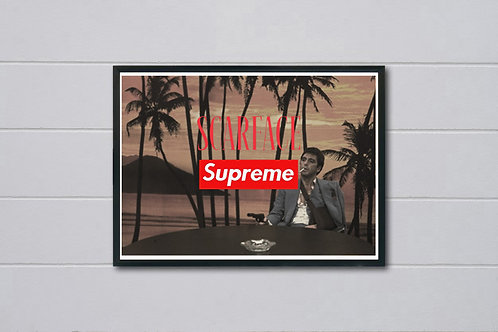 Scarface Supreme Style Movie Poster, Hypebeast Poster, Pop Culture Tony Montana