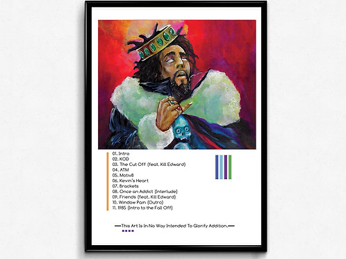 J Cole KOD Track Listing Poster, Hypebeast Poster Print, Pop Culture Poster Art