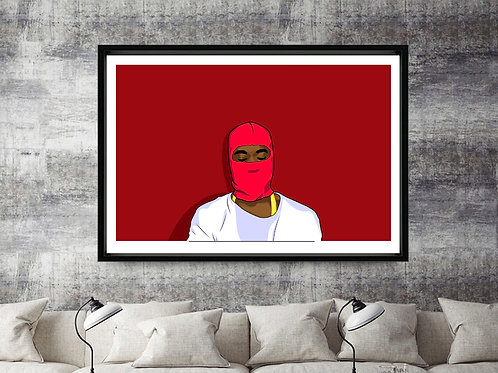 Custom Kanye West Sk Mask Modern Art Print 12x18 Poster Wall Art