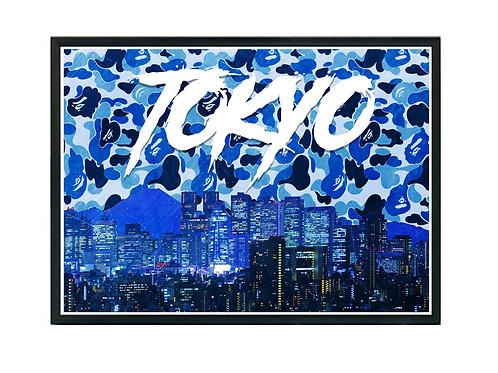 Bape Tokyo Skyline Poster Art, Hypebeast Poster Print Pop Culture Art