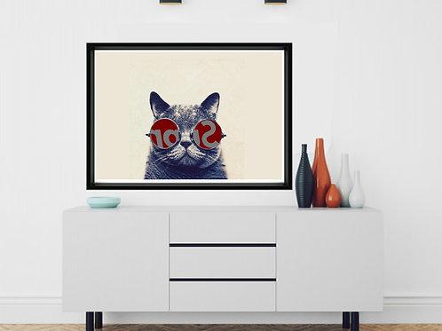 Cool Cat In Sunglasses Poster, Animal Wall Art, Textured Print,Geometric