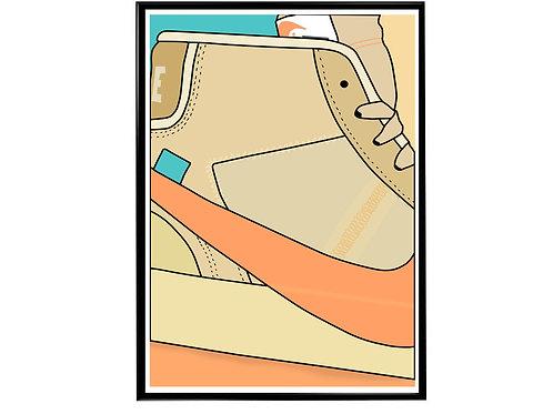 Off White x Nike Blazer Sneaker Poster, Hypebeast Poster, Modern Pop Art