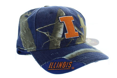 University of Illinois Illini BL Woodland Camo Strap Back Hat Adjustable Dad Cap