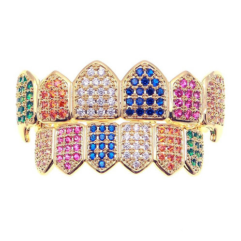 18K Gold PVD Plated Rainbow CZ Fang Grillz Multi-Color Set