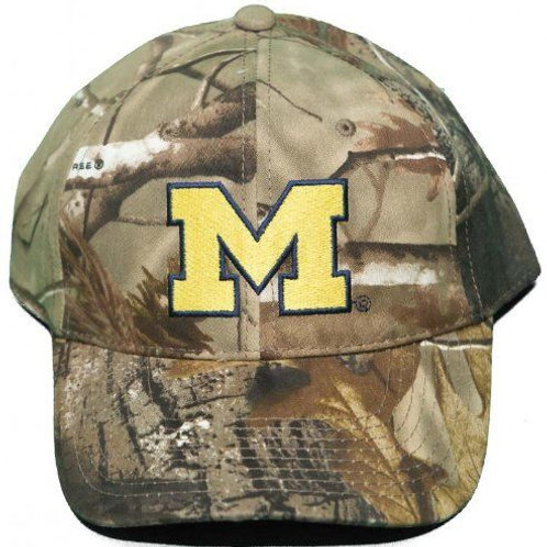 University Michigan Wolverine Woodland Camo Distressed Strap Back Hat Adjustable
