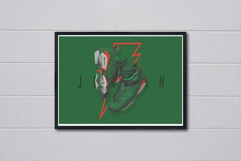 Air Jordan Green Poster, Modern Wall Art, Hypebeast Sneaker Poster