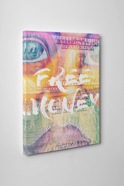 Free Money Mixed Media Canvas Art, Hypebeast Canvas Art, Street Art Canvas Print