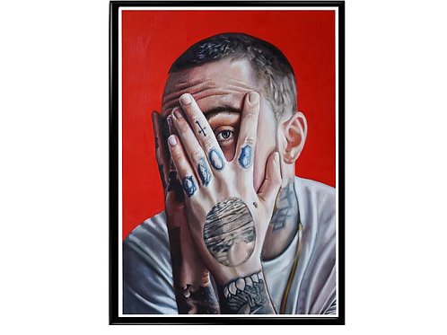 Mac Miller Oil Paint Style Poster, Music Poster, Hip Hop Wall Art