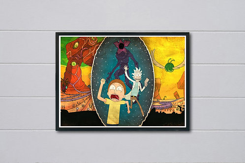 Rick And Morty Meet Stranger Things Poster, Galaxy Space Wall Art Decor