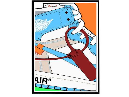 Off White x Air Jordan 1 Blue Sneaker Poster, Hypebeast Poster, Kicks Poster