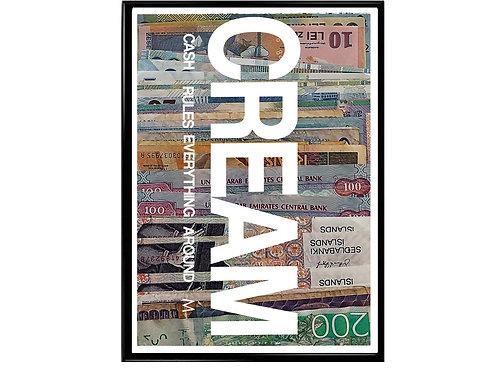 C.R.E.A.M. Money Poster, Hypebeast Poster Motivational Art