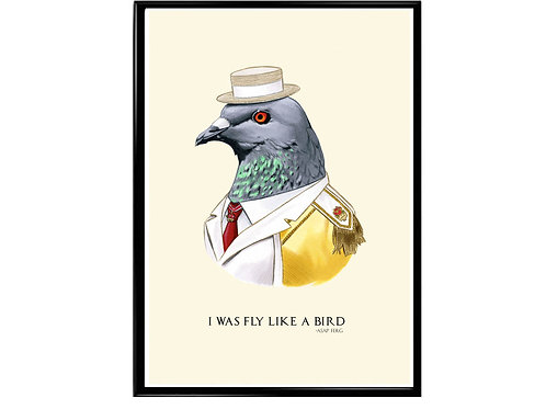 Fly Like A Bird ASAP Ferg Quote Poster, Funny Animal Art, Rap Music Poster