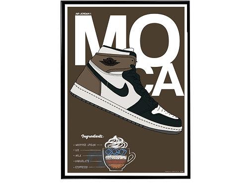 Air Jordan 1 Moca Sneaker Poster, Hypebeast Poster