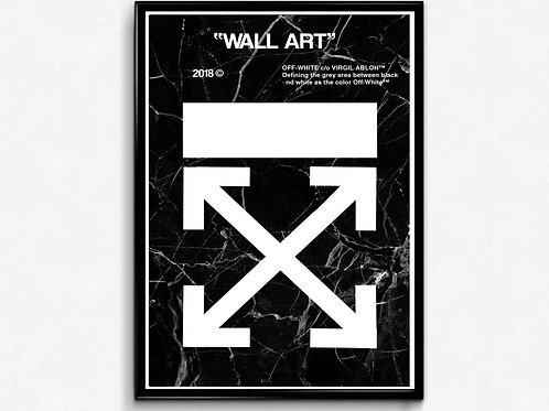 Off White Inspired Black Marble Poster, Hypebeast Poster Print, Pop Culture Art