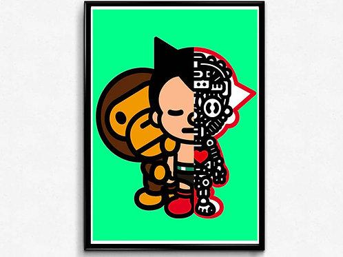 Baby Milo x Astro Boy Poster Art, Hypebeast Poster Print Pop Culture Art