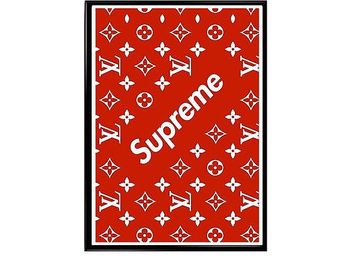 Supreme x LV Pattern Poster, Hypebeast Poster Sneaker Art