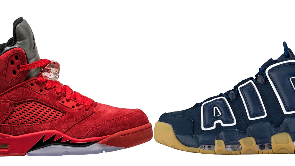 jordan 5 red suede nike air more uptempo obsidian