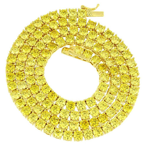 Canary Yellow Tennis Chain CZ 14k Gold Over Stainless Steal Mini Piece Necklace