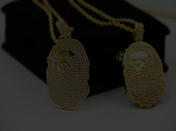 Bathing Ape Gold PVD Micro Chain Hip Hop Jewlery