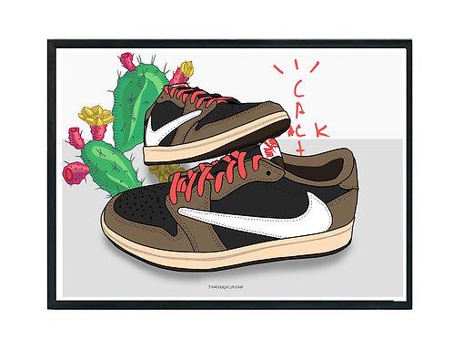 Custom Cactus Jack Jordan Sneaker Poster, Hypebeast Poster Kicks Poster