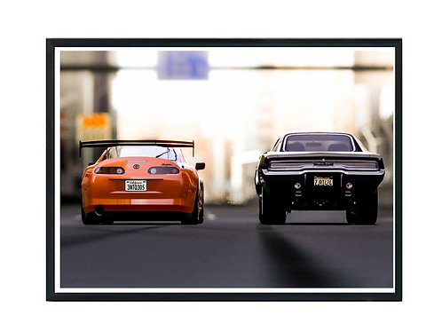 Supra Vs. Charger Poster, Fast & Furious Poster, Exotic Car Poster, Drag Race