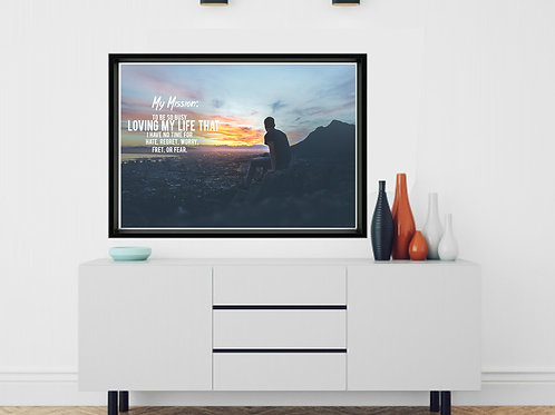 Mission: Love Life Poster, Inspirational Quote Posters, Mixed Media Wall Decor
