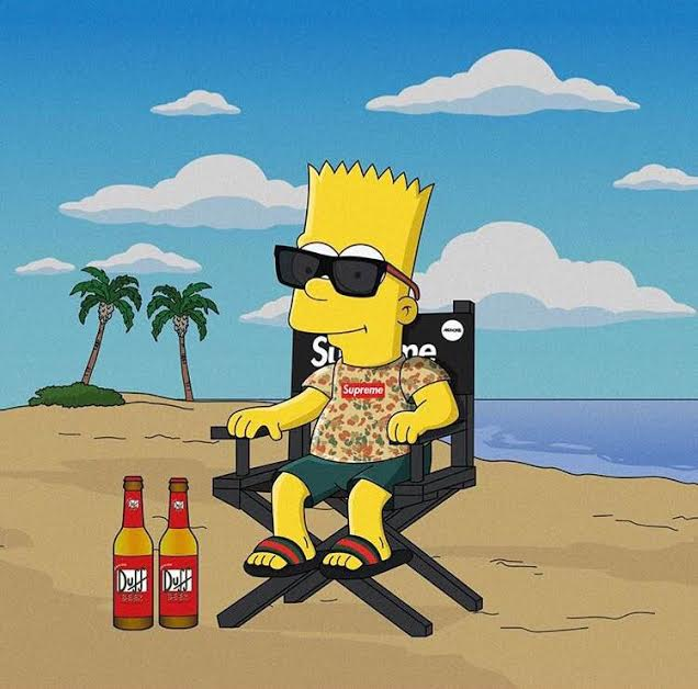 Bart Simpson wearing duck camo Supreme box logo tee and Gucci flip flops on the beach.