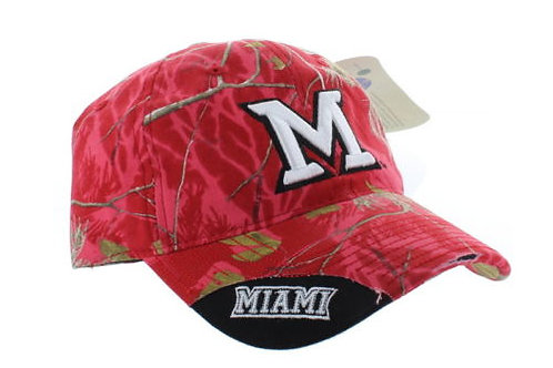 Miami University Redhawks Woodland Camo Distress Strap Back Hat Adjustable