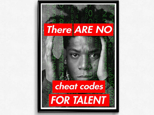 Basquiat No Cheat Code Poster, Hypebeast Poster Print, Graffiti Street Art