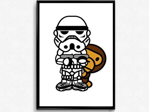 Baby Milo x Stormtrooper Poster Art, Hypebeast Poster Print Pop Culture Art
