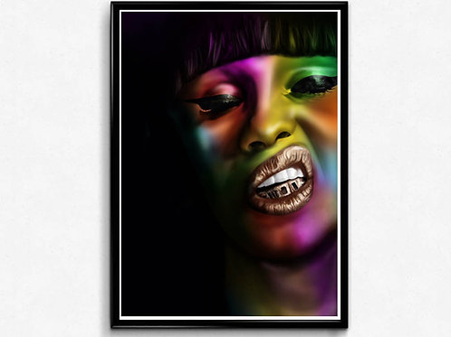 Cardi B Abstract Poster, Hypebeast Poster Print, Pop Culture Poster Art
