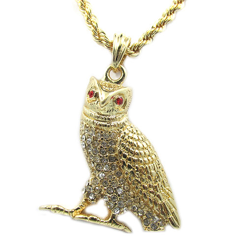 Ovo Owl 14k Gold Overlay Piece Mini Charm Pendant