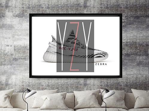 Yeezy Boost 350 Zebra Custom Kicks Sneaker 12x18 Poster Wall Art