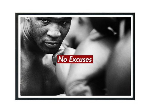 Mile Tyson No Excuses Poster, Hypebeast Poster Motivational Slogan Poster