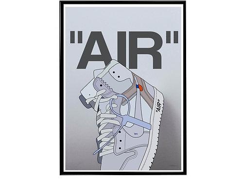 Off White x Jordan 1 Wt Drawing Sneaker Poster, Hypebeast Poster Kicks Poster