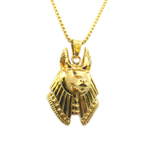 Anubis 3d micro chain set 18k gold plated anubis 3d micro chain set 18k gold over brass piece mini charm pendant stainless steel box chain necklace micro pave design 24 in long stainless steel aloadofball Images
