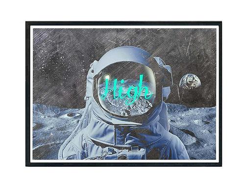 High Astronaut Grunge Urban Art Poster