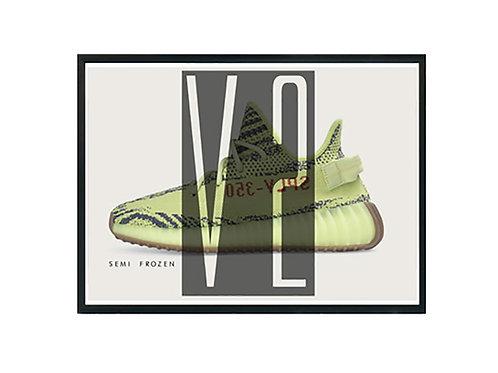 350 Boost V2 Semi Frozen Sneaker Poster Pop Culture Hypebeast Poster Sneaker